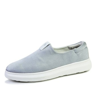 ESSAN Fashion Men Causal Loafers Shoes Comfortable Slip-on Canvas Solid Color Flat (Grey) (Intl)
