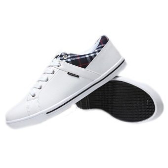 Spring Autumn Men Fashion Casual Breathable Low Board Student Shoes Sport Flat Sneakers White Blue (Intl)