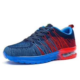 Fashion Breathable Women Shoes Men Air Cushion Athletic Sneakers Lover Shoes (Blue) - Intl