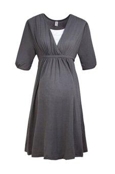 Maternity Short Sleeve Loose Casual Dress (Deep grey) (Intl)