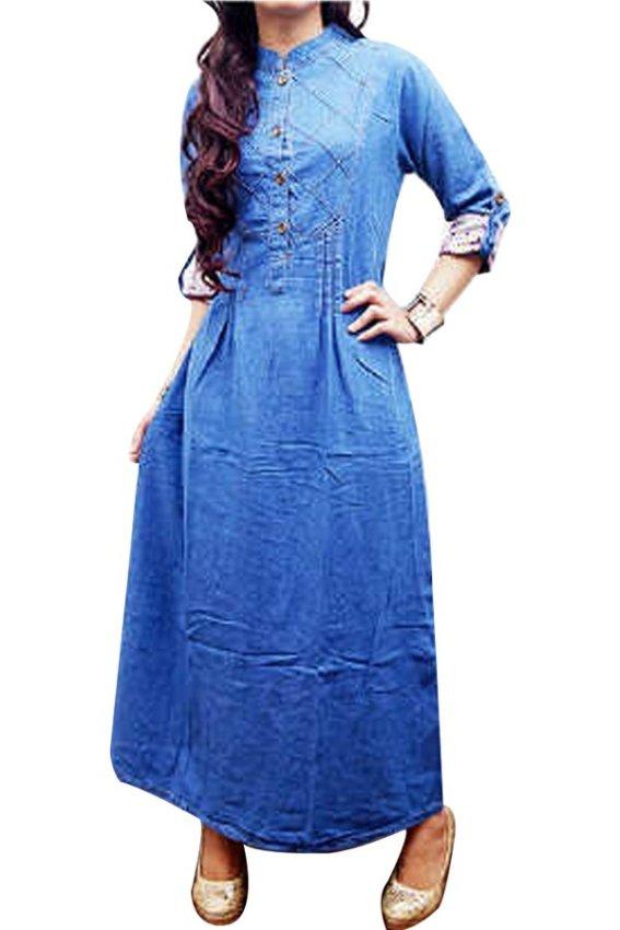harga DJI Dress Gamis Jeans 304 - Biru Lazada.co.id