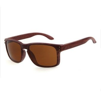 New Wood Outdoor Sunglasses Men Fashion Square Brown (Intl)