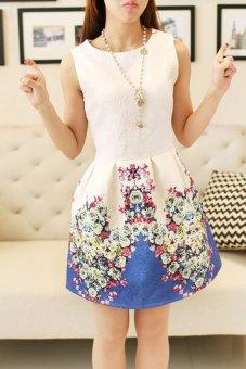 Toprank Summer Women Korean Ladies Round Neck Sleeveless Vest Bottoming Slim Flower Print Dress ( Blue )