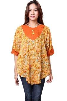 Batik Distro BA6378 Blus Wanita Paris Tunik Pendek - Orange