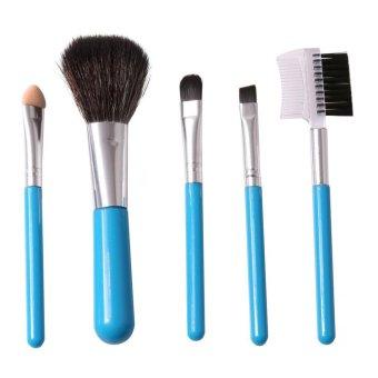 LALANG 5Pcs Mini Makeup Brush Set Cosmetic Beauty Tool Kit (Blue)- Intl