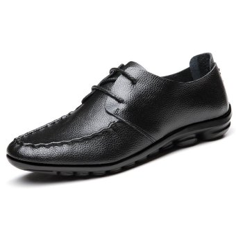 Men's Doug Shoes Low Cut Light Great for Driving Leather Shoes (Black) (Intl)