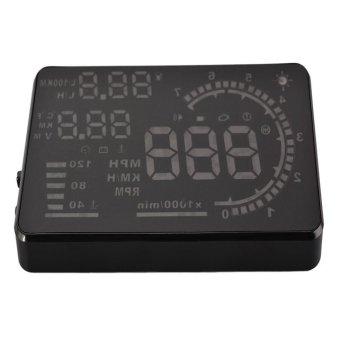 A8 Car HUD Head Up Display OBD2 Interface Plug and Play KM/h MPH Speeding Warning 5.5inch Screen (Black)