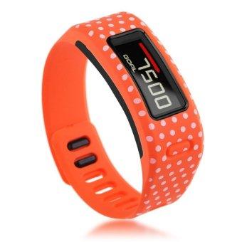 HKS TPU Replacement Wristband Band FOR Garmin Vivofit Bracelet with Clasp L S Size L Orange Dots - Intl