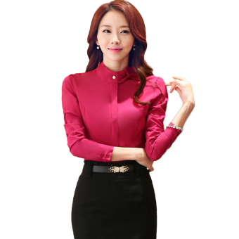 TongLuRen NZYZ0028-B Blouses Women Fashion Business Attire Blouses (Red) - Intl