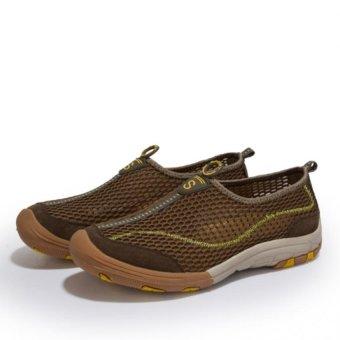 YINGLUNQISHI Men Breathable Recreational Shoes(Brown) - Intl