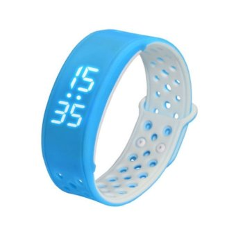 JTS W9 Bluetooth Smart Wristband Sport Fitness Bracelet with IP67 Waterproof Pedometer Activity Tracker Calories Burned for Android and IOS iPhone Smart Phone (Blue White) - Intl