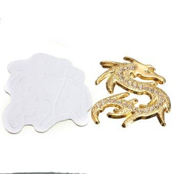Gold Chinese Dragon Design Style 3D Chrome Rhinestone Crystal Car Truck Sticker