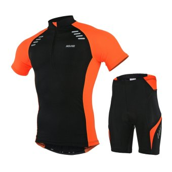 Men's Short-Sleeeve Cycling Jersey Set MTB Bicycle Pants Breathable Wicking Clothes(Black+Orange) (Intl)