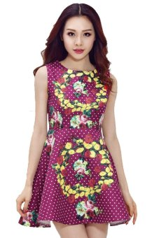 ASTAR Sleeveless Floral Dot A-Line Dress (Multicolor) - Intl
