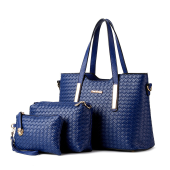 3Pcs Set Women Lady Shoulder Bag Handbag Clutches Casual PU Leather Top-Handle Bags Messenger Bags L16026 (Blue) (Intl)