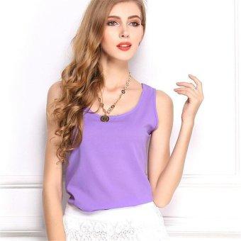 TongLuRen OMNZ0001-G Tops European Fashion Women Clothing Bottoming Shirt Sleeveless Chiffon Camisole Vest (Purple) - Intl