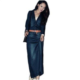 Summer Autumen Womens Denim Long Dresses Full Sleeve (Intl)