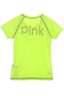 Nylon Pink Apple Yoga Half Sleeve Top-Neon Yellow - Intl