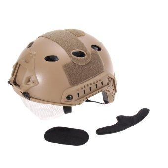 Airsoft Tactical FAST Helmet with Protective Goggle khaki (Intl)