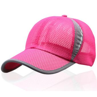 Unisex Classic Mesh Baseball Cap Adjustable Trucker Blank Golf Sport Outdoor Hat Rose Red- Intl