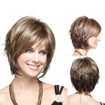 Stylish Highlight Synthetic Wig Natural Curly Hair Capless Side Bang - Intl