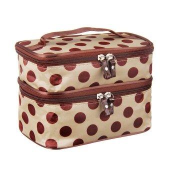 Fashion Double Layer of Cosmetic Bag Dot Zipper Makeup Bag Beige - Intl