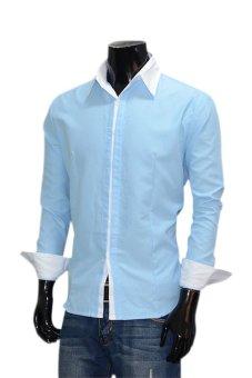 Linemart Men's Casual Slim Fit Long Sleeve Shirts (Blue) (Intl)