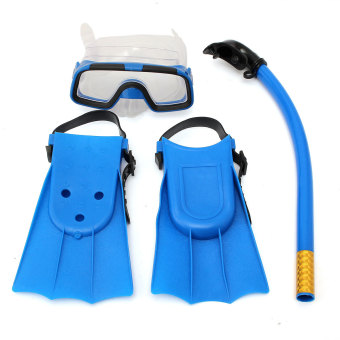 Kids Diving Mask Snorkel& Glasses&Fins Set Silicone Swimming Pool Equipment Gift Blue - INTL