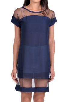 Toprank Summer Dress Sexy Fashion Mesh&Lace Chiffon Short Sleeve Dress Women Casual ( Blue ) - Intl