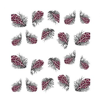 Beauty Colorful Leopard Water Transfer Stickers 3D Nail Art Tips Feather Decals 1743 (Intl)