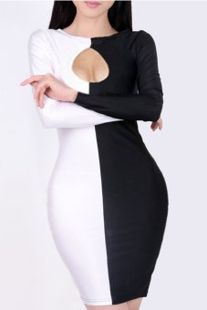 Cyber Sexy Women's Clubwear Black White Splicing Long Sleeve Outfit Front Hollow Bodycon Bandage Dress ( Black )