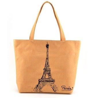Fashion Women Girl Eiffel Tower Canvas Bags Shoulder Bag Casual Handbag Yellow