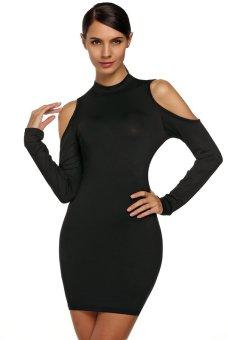 Cyber FINEJO Ladies Off Shoulder Long Sleeve Slim Bodycon Black and White Stripes Mini Dress ( Black )