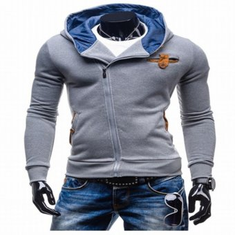 Cyber Fashion Men's slim Long Sleeve Hooded pullover Pure Color Cotton Leisure Sports Tops Hoodie (light gray) - Intl