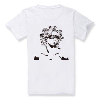 Female Mask Cotton Soft Men Short Sleeve T-Shirt (White) - Intl