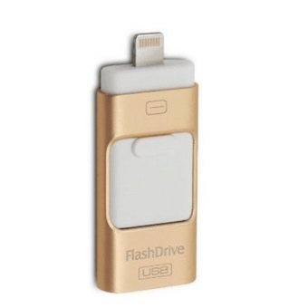 64GB i-Flash Driver HD U-disk Lightning data Micro USB interface for iPhone Android (Gold+White) (Intl)