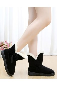 Cyber Women Winter Snow Boots Warm Flat Heel Solid Bowknot Snow Boots Ankle Platform Mid Shoes(Black) - Intl