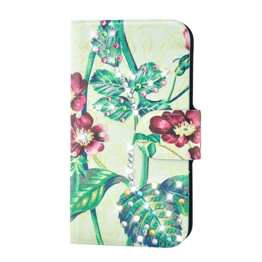 Rhinestone Red Flower Tree Design Card Slot Magnetic PU Leather Flip Case Cover Compatible For HTC 9060 901e Butterfly S