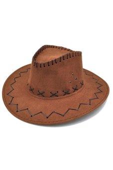 Velishy Unisex Hat Cowboy Knight Western Visor Brown - INTL