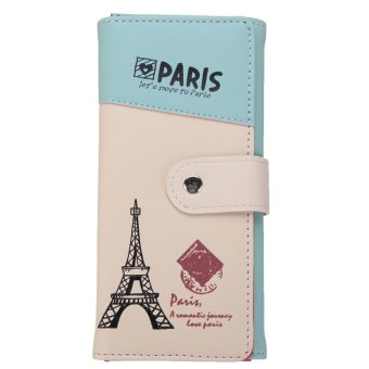 Leather Clutch Wallet Long Card Holder Case Purse Handbag Light Blue