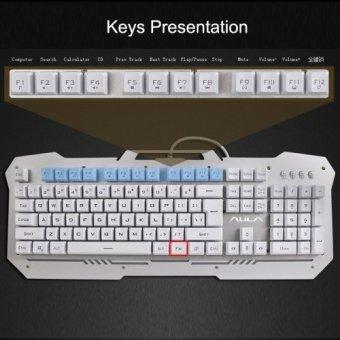 AULA Superior Mixed Light Backlit Effect Uniform Color Keyclick Free Mode Mechanical Gaming Keyboard(Gold)(INTL)