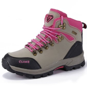 2016 Fashion Men Outdoors Sports Shoes Hiking Shoes (Pink) - INTL