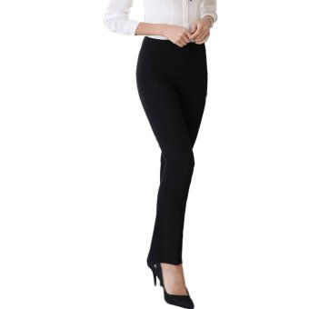 TongLuRen NZYZ0015-A Pants Women Fashion Pants Business Attire Straight Office Lady Trousers (Black) - Intl