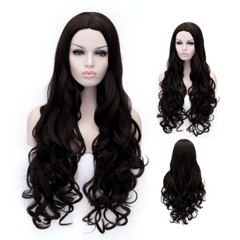 Cosplay Wig Black Carved Wavy Long Curly Wig (Intl)