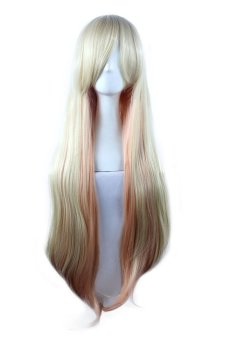 Cosplay Wig Gold Pink Long Curly Hair (Gold/Pink)- Intl