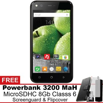 Evercoss Elevate Y3 Plus 4G LTE - 16 GB - Hitam Gratis Powerbank + Micro SDHC 8Gb + Screenguard + Flipcover