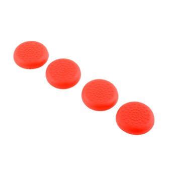 Aukey Soft Rubber Thumbstick Joystick Grips for PlayStation 4 (Red)