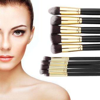 Allwin 10pcs Makeup Brushes Set Cosmetic Eyeshadow Face Powder Foundation Lip Brush - Intl