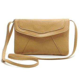 Women pu leather cross-body letter bags(Khaki)- Intl