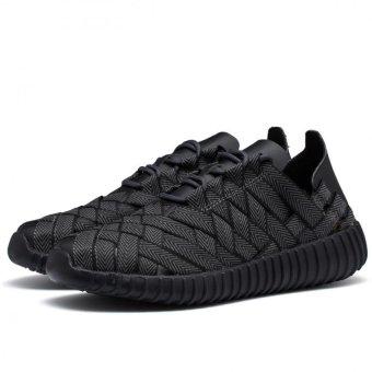 YINGLUNQISHI Men's Fashion Mesh Breathable Flat Shoes(Black) JC118 - INTL